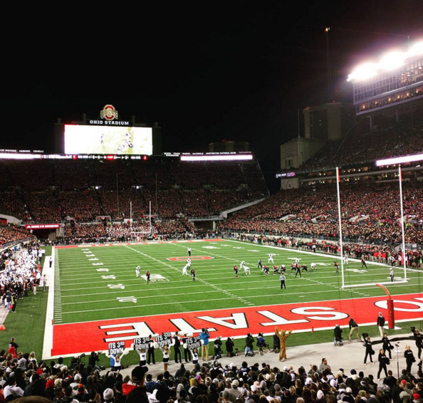 The Buckeyes playing with their black jerseys against Penn State.